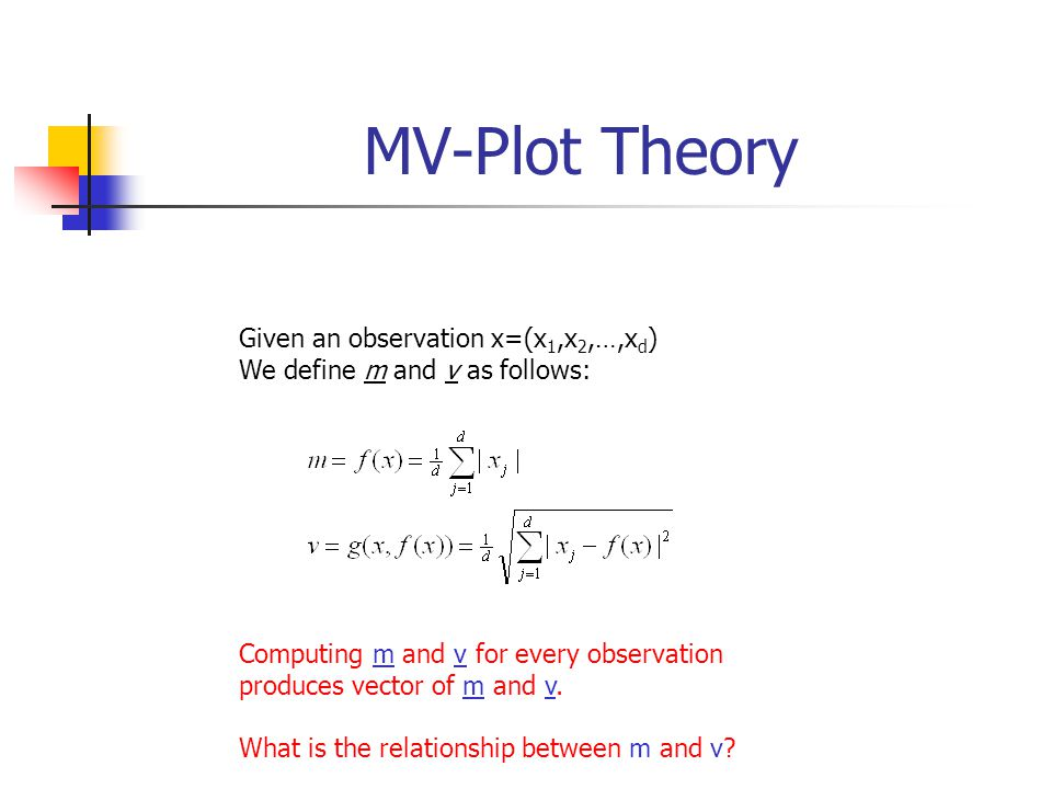 MV-Plot Theory Given an observation x=(x 1,x 2,…,x d ) We define m and v as follows: Computing m and v for every observation produces vector of m and v.