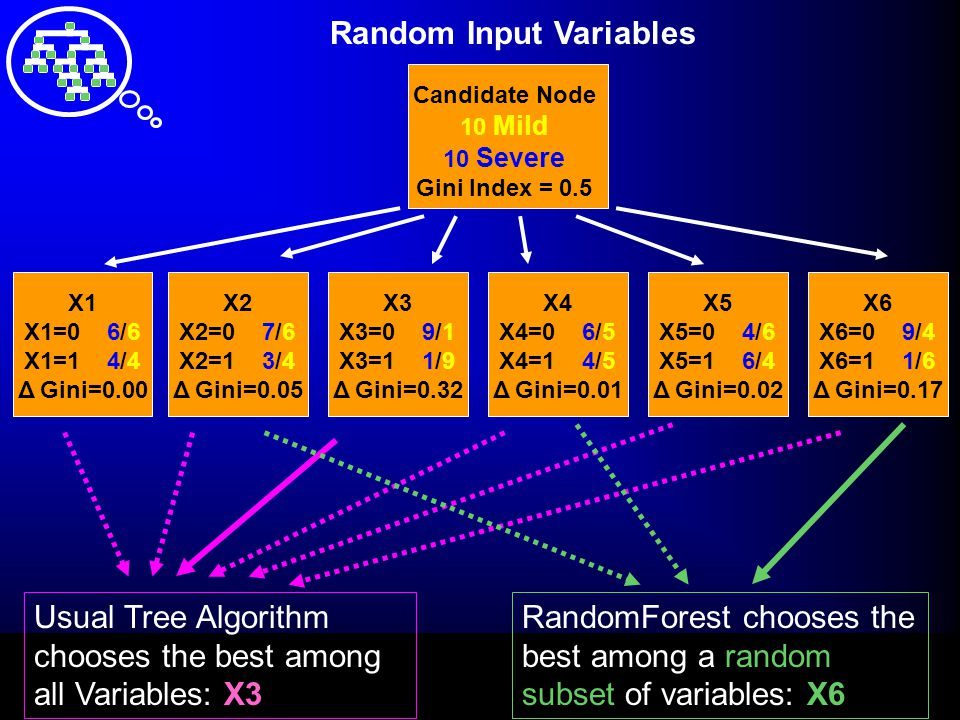Random Input Variables Candidate Node 10 Mild 10 Severe Gini Index = 0.5 X1 X1=0 6/6 X1=1 4/4 Δ Gini=0.00 X2 X2=0 7/6 X2=1 3/4 Δ Gini=0.05 X3 X3=0 9/1 X3=1 1/9 Δ Gini=0.32 X4 X4=0 6/5 X4=1 4/5 Δ Gini=0.01 X5 X5=0 4/6 X5=1 6/4 Δ Gini=0.02 X6 X6=0 9/4 X6=1 1/6 Δ Gini=0.17 Usual Tree Algorithm chooses the best among all Variables: X3 RandomForest chooses the best among a random subset of variables: X6