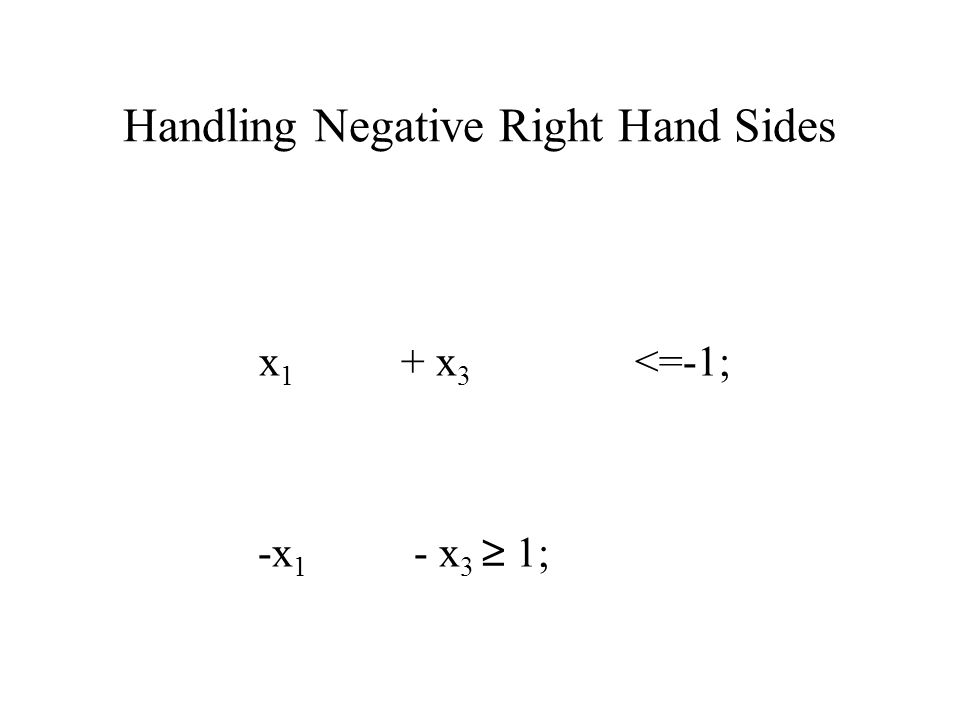 Handling Negative Right Hand Sides x 1 + x 3 <=-1; -x 1 - x 3 ≥ 1;