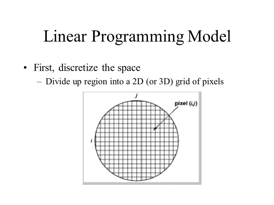 Linear Programming Model First, discretize the space –Divide up region into a 2D (or 3D) grid of pixels