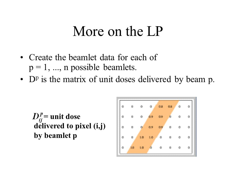 More on the LP Create the beamlet data for each of p = 1,..., n possible beamlets.