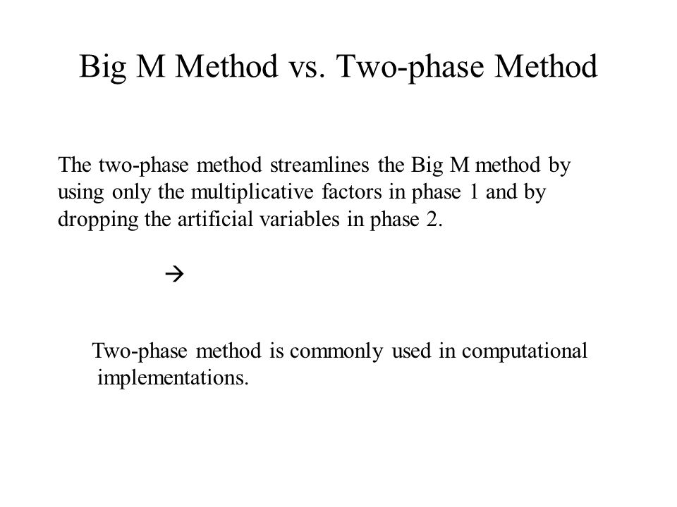 Big M Method vs. Two-phase Method The two-phase method streamlines the Big M method by using only the multiplicative factors in phase 1 and by droppin