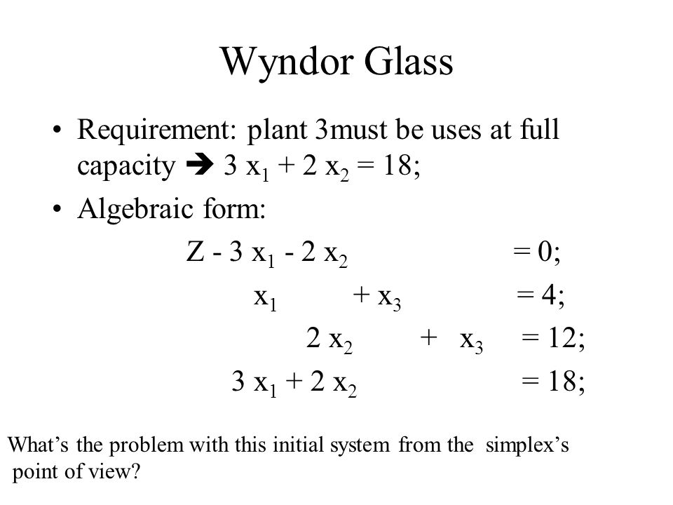 Wyndor Glass Requirement: plant 3must be uses at full capacity  3 x 1 + 2 x 2 = 18; Algebraic form: Z - 3 x 1 - 2 x 2 = 0; x 1 + x 3 = 4; 2 x 2 + x 3 = 12; 3 x 1 + 2 x 2 = 18; What's the problem with this initial system from the simplex's point of view?