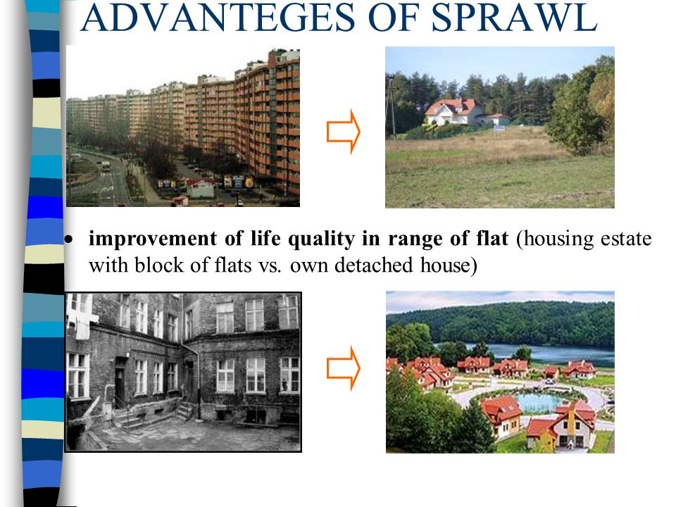 ADVANTEGES OF SPRAWL  improvement of life quality in range of flat (housing estate with block of flats vs. own detached house)