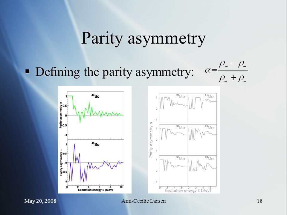 May 20, 2008Ann-Cecilie Larsen18 Parity asymmetry  Defining the parity asymmetry: