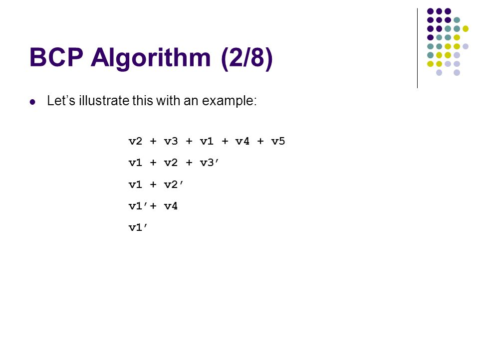 v2 + v3 + v1 + v4 + v5 v1 + v2 + v3' v1 + v2' v1'+ v4 v1' BCP Algorithm (2/8) Let's illustrate this with an example: