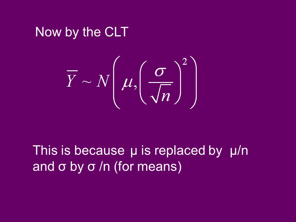 Now by the CLT This is because µ is replaced by µ/n and σ by σ /n (for means)
