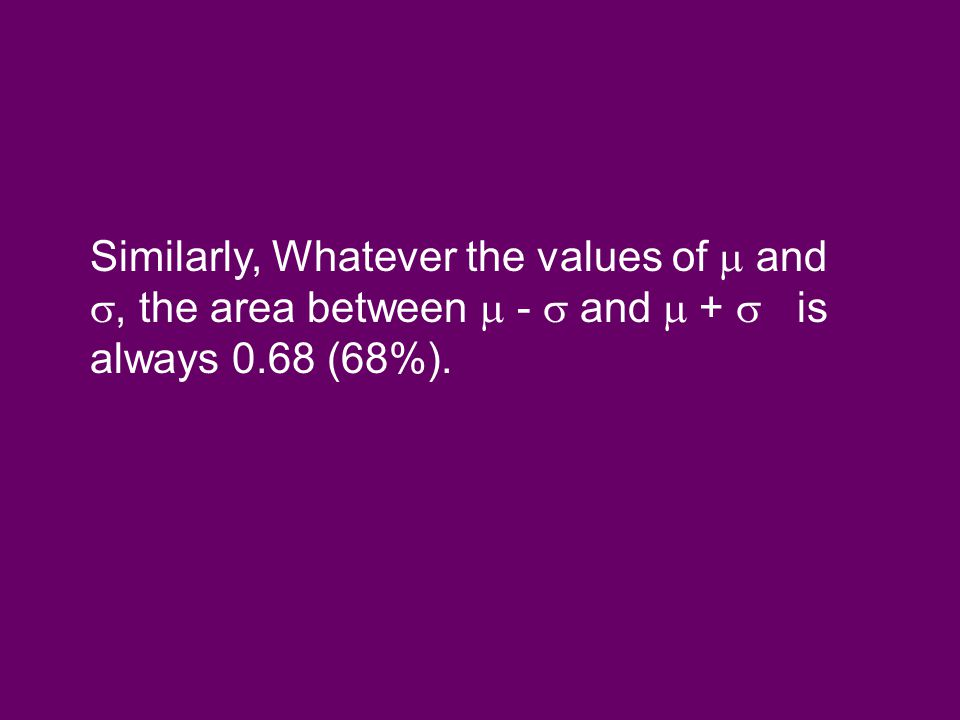 Similarly, Whatever the values of  and , the area between  -  and  +  is always 0.68 (68%).