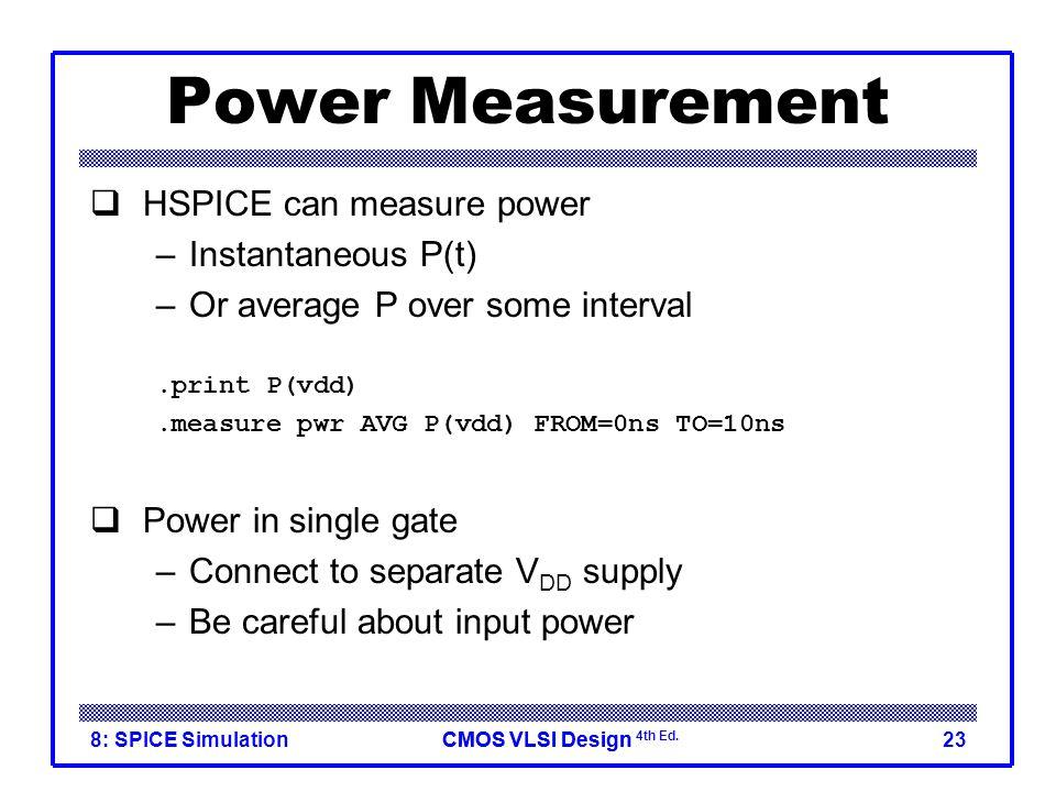 CMOS VLSI DesignCMOS VLSI Design 4th Ed. 8: SPICE Simulation23 Power Measurement  HSPICE can measure power –Instantaneous P(t) –Or average P over som