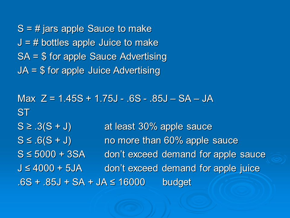S = # jars apple Sauce to make J = # bottles apple Juice to make SA = $ for apple Sauce Advertising JA = $ for apple Juice Advertising Max Z = 1.45S + 1.75J -.6S -.85J – SA – JA ST S ≥.3(S + J)at least 30% apple sauce S ≤.6(S + J)no more than 60% apple sauce S ≤ 5000 + 3SAdon't exceed demand for apple sauce J ≤ 4000 + 5JAdon't exceed demand for apple juice.6S +.85J + SA + JA ≤ 16000budget