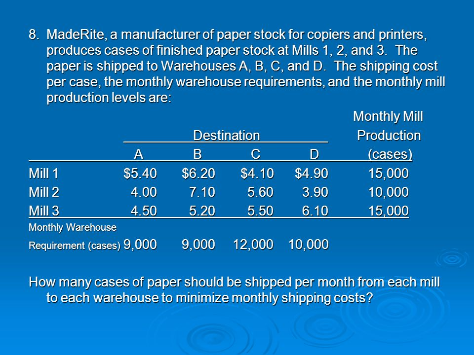 8.MadeRite, a manufacturer of paper stock for copiers and printers, produces cases of finished paper stock at Mills 1, 2, and 3. The paper is shipped
