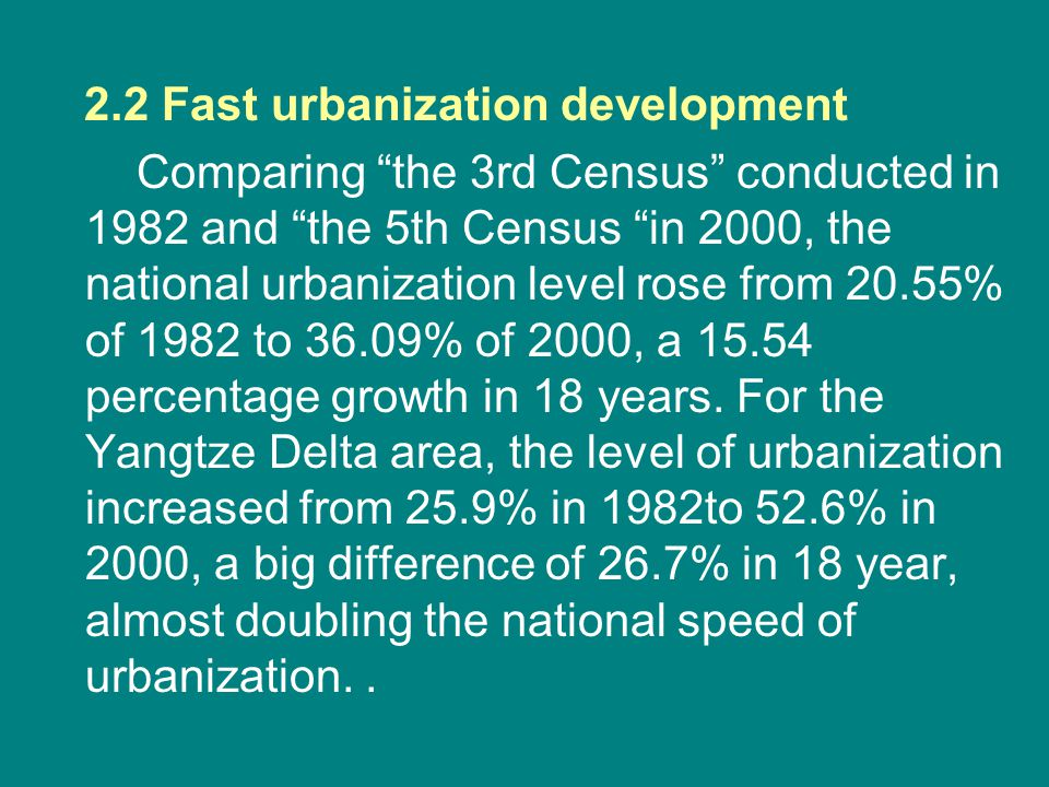 "2.2 Fast urbanization development Comparing ""the 3rd Census"" conducted in 1982 and ""the 5th Census ""in 2000, the national urbanization level rose from"
