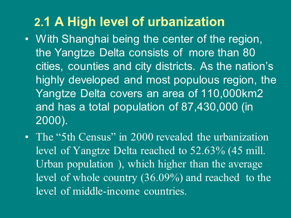 2.2 Fast urbanization development Comparing the 3rd Census conducted in 1982 and the 5th Census in 2000, the national urbanization level rose from 20.55% of 1982 to 36.09% of 2000, a 15.54 percentage growth in 18 years.