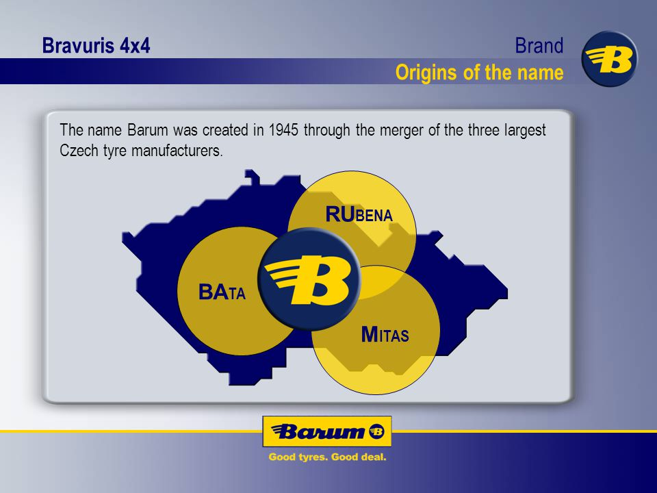 Bravuris 4x4 BA TA M ITAS RU BENA The name Barum was created in 1945 through the merger of the three largest Czech tyre manufacturers.