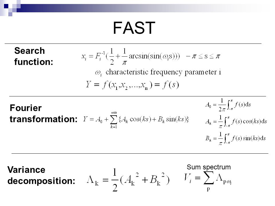 FAST Search function: Fourier transformation: Variance decomposition: Sum spectrum