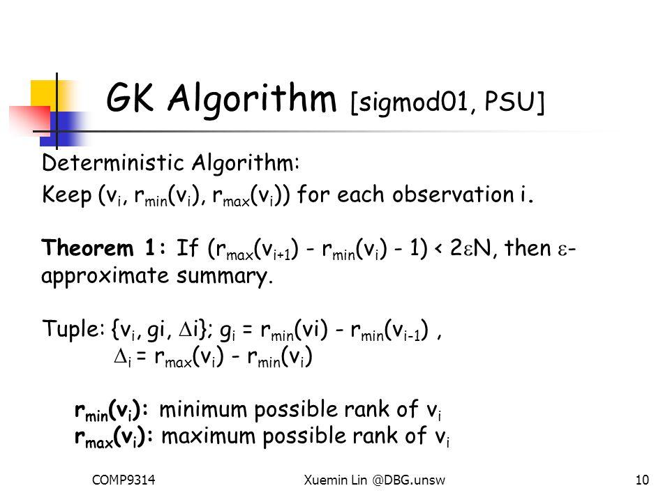 COMP9314Xuemin Lin @DBG.unsw10 GK Algorithm [sigmod01, PSU] Deterministic Algorithm: Keep (v i, r min (v i ), r max (v i )) for each observation i.