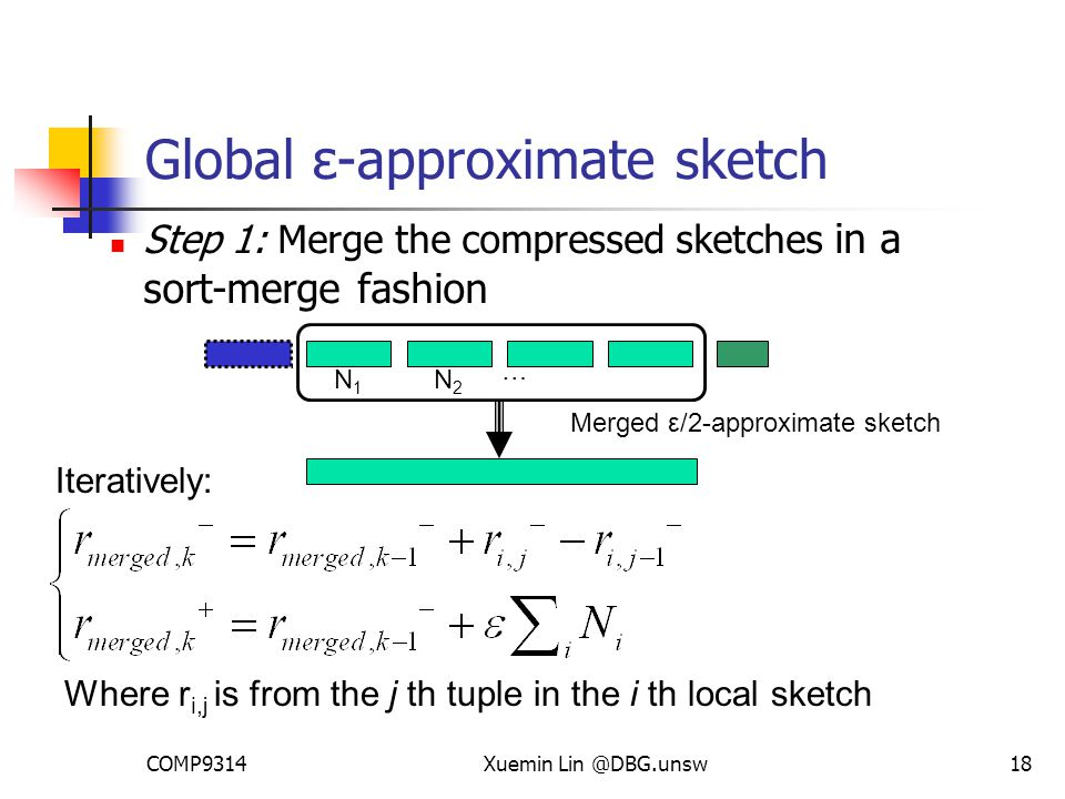 COMP9314Xuemin Lin @DBG.unsw18 Global ε-approximate sketch Step 1: Merge the compressed sketches in a sort-merge fashion Iteratively: N1N1 N2N2 … Merged ε/2-approximate sketch Where r i,j is from the j th tuple in the i th local sketch