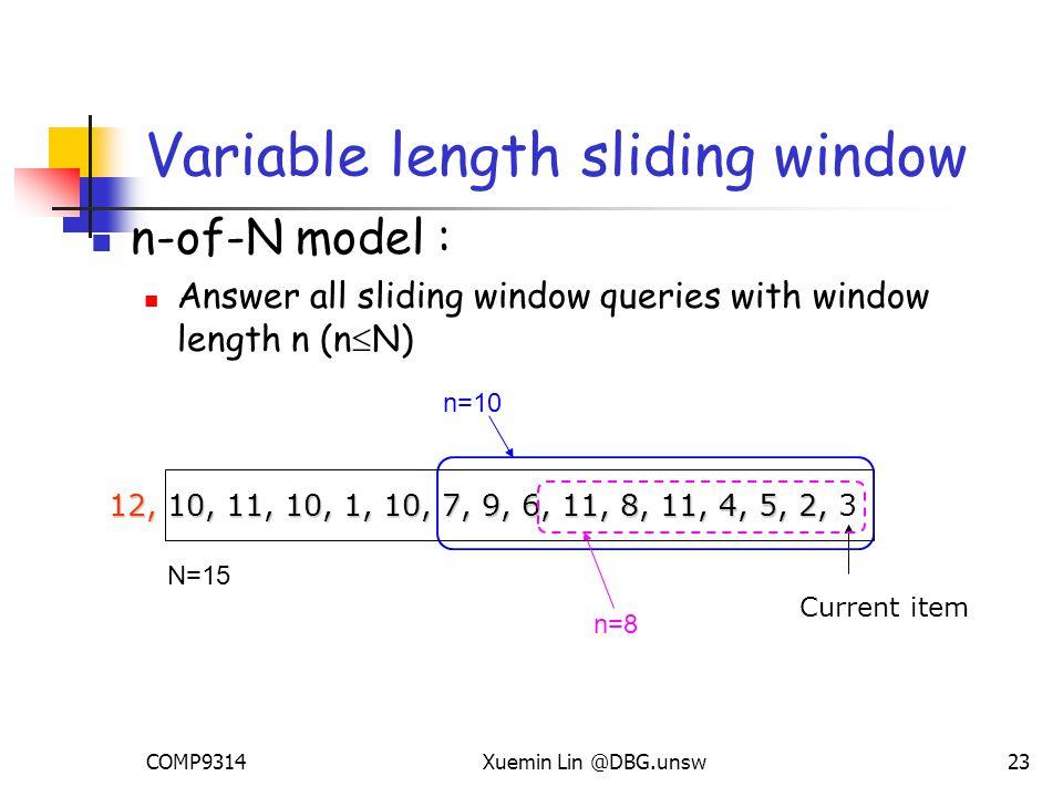 COMP9314Xuemin Lin @DBG.unsw23 Variable length sliding window n-of-N model : Answer all sliding window queries with window length n (n  N) Current item 12, 10, 11, 10, 1, 10, 7, 9, 6, 11, 8, 11, 4, 5, 2, 12, 10, 11, 10, 1, 10, 7, 9, 6, 11, 8, 11, 4, 5, 2, 3 n=10 n=8 N=15
