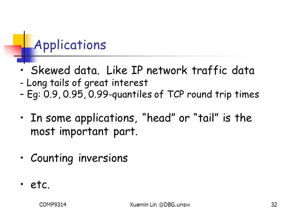 COMP9314Xuemin Lin @DBG.unsw32 Applications Skewed data.