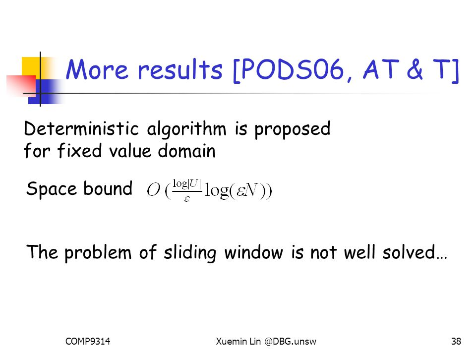 COMP9314Xuemin Lin @DBG.unsw38 More results [PODS06, AT & T] Deterministic algorithm is proposed for fixed value domain Space bound The problem of sliding window is not well solved…