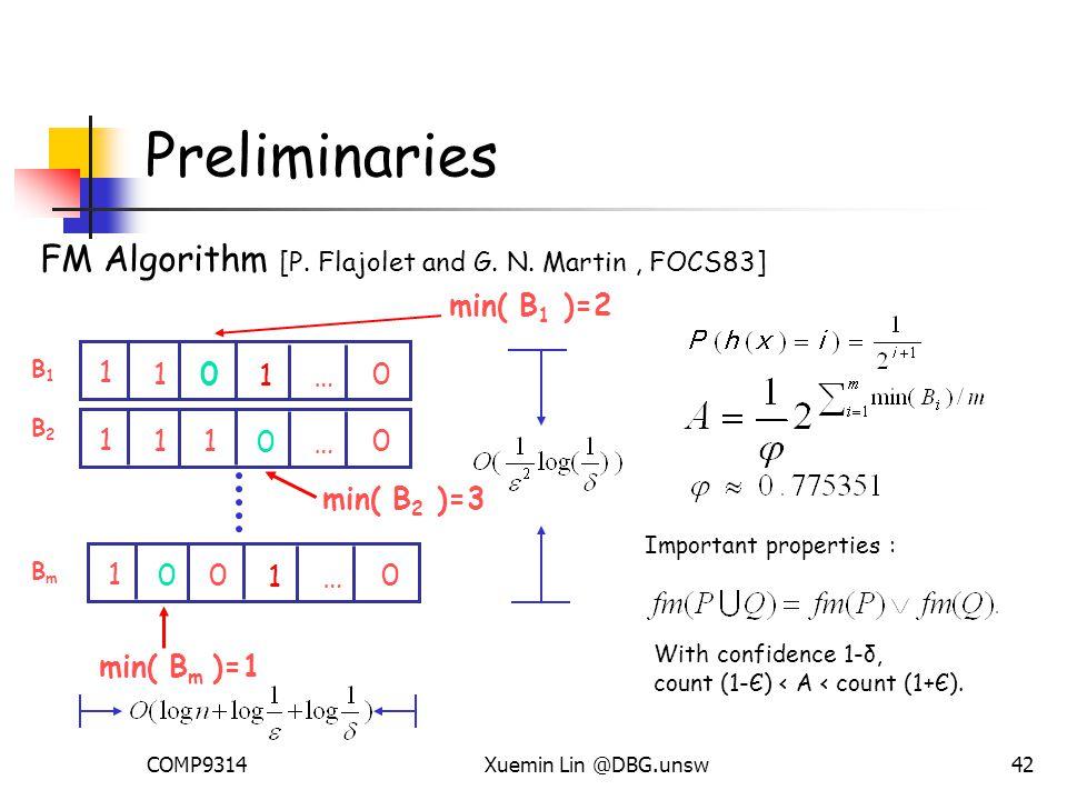 COMP9314Xuemin Lin @DBG.unsw42 Preliminaries FM Algorithm [P.