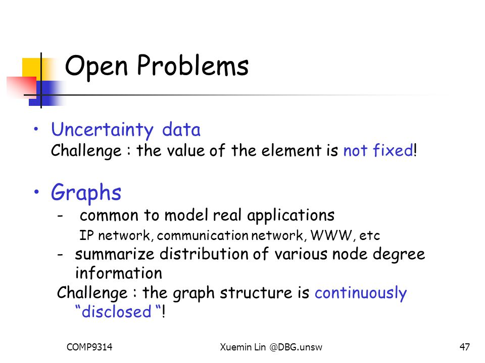 COMP9314Xuemin Lin @DBG.unsw47 Open Problems Uncertainty data Challenge : the value of the element is not fixed.