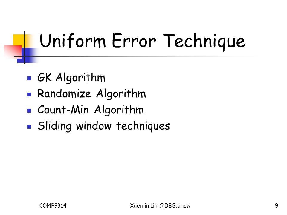 COMP9314Xuemin Lin @DBG.unsw9 Uniform Error Technique GK Algorithm Randomize Algorithm Count-Min Algorithm Sliding window techniques