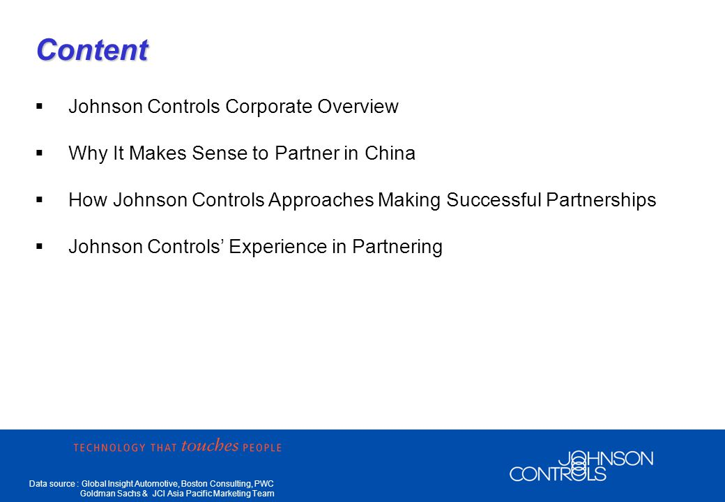 Data source : Global Insight Automotive, Boston Consulting, PWC Goldman Sachs & JCI Asia Pacific Marketing Team Keys To Partnering Success Find Strong JV Partners to Share Risk Shenyang Joint Venture Est in 1999 Products: Seat, Door Panel, Instrument Panel Shenyang Joint Venture Est in 1999 Products: Seat, Door Panel, Instrument Panel Beijing Joint Venture Est in 1997 Products: Seat, Door Panel, OHS Beijing Joint Venture Est in 1997 Products: Seat, Door Panel, OHS Changchun Joint Venture Est in 2001 Products: Seat, Door Panel, Instrument Panel, Headliner, Cluster, Parcel Tray Changchun Joint Venture Est in 2001 Products: Seat, Door Panel, Instrument Panel, Headliner, Cluster, Parcel Tray Shanghai Joint Venture Est in 1998 Products: Seats, headliner, visor, OHS Shanghai Joint Venture Est in 1998 Products: Seats, headliner, visor, OHS Chongqing Joint Venture Est in 2003 Products: Seat, Parcel Shelf Chongqing Joint Venture Est in 2003 Products: Seat, Parcel Shelf Guangzhou Joint Venture To be est in 2004 Products: Seat Guangzhou Joint Venture To be est in 2004 Products: Seat