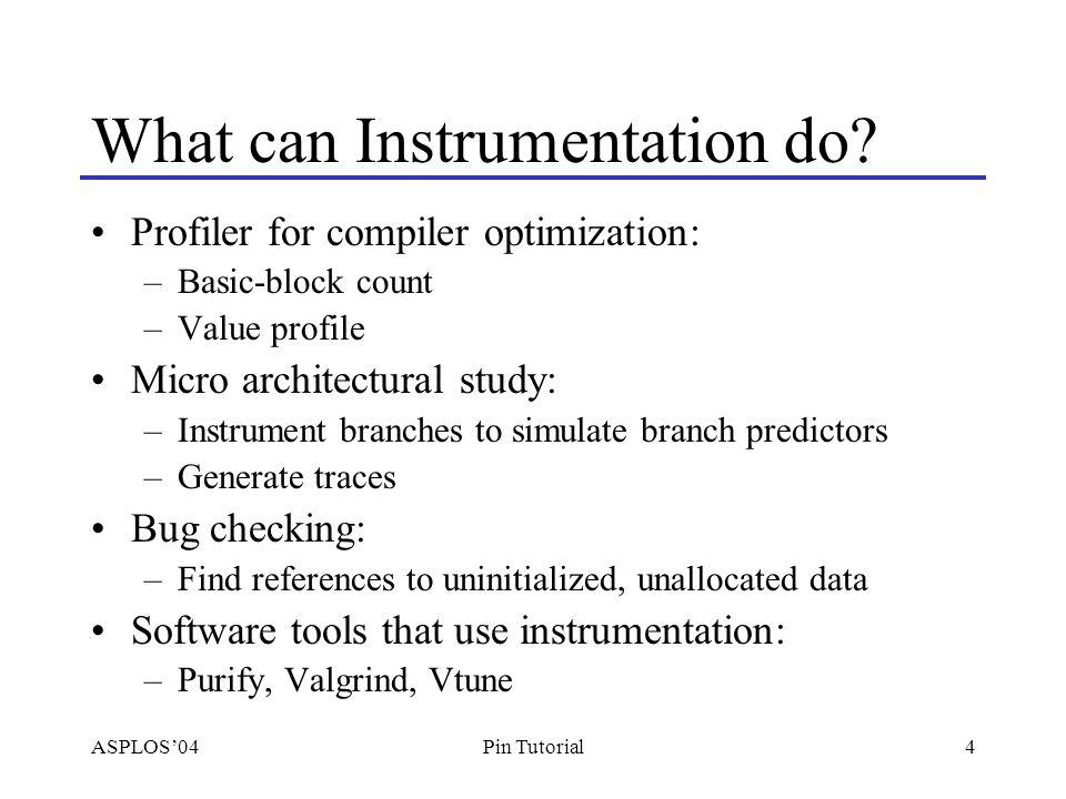 ASPLOS'0435Pin Tutorial Modify Program Behavior with Instrumentation Analysis routines modify register values –IARG_RETURN_REGS Instrumentation modifies register operands –add %eax, %ebx => add %eax, %edx Use virtual registers –add %eax, %ebx => add %eax, REG_INST_G0 Modify memory –Pintool in the same address space as the program