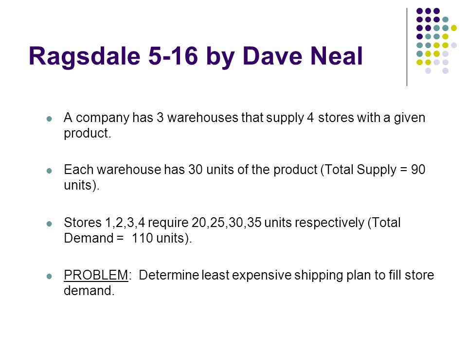Ragsdale 5-16 by Dave Neal A company has 3 warehouses that supply 4 stores with a given product.