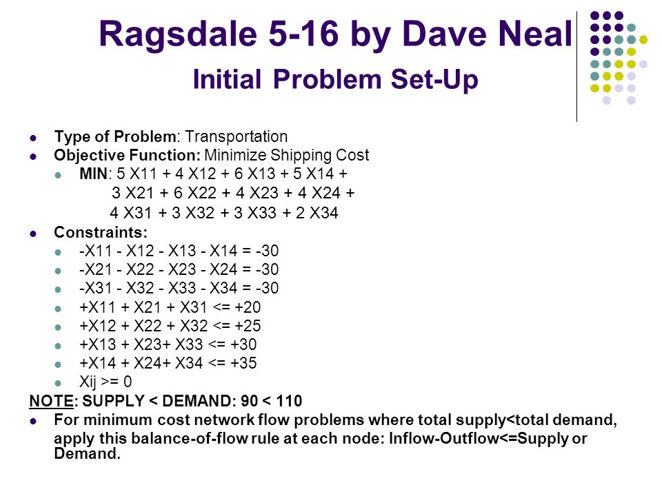 Ragsdale 5-16 by Dave Neal Initial Problem Set-Up Type of Problem: Transportation Objective Function: Minimize Shipping Cost MIN: 5 X11 + 4 X12 + 6 X13 + 5 X14 + 3 X21 + 6 X22 + 4 X23 + 4 X24 + 4 X31 + 3 X32 + 3 X33 + 2 X34 Constraints: -X11 - X12 - X13 - X14 = -30 -X21 - X22 - X23 - X24 = -30 -X31 - X32 - X33 - X34 = -30 +X11 + X21 + X31 <= +20 +X12 + X22 + X32 <= +25 +X13 + X23+ X33 <= +30 +X14 + X24+ X34 <= +35 Xij >= 0 NOTE: SUPPLY < DEMAND: 90 < 110 For minimum cost network flow problems where total supply<total demand, apply this balance-of-flow rule at each node: Inflow-Outflow<=Supply or Demand.