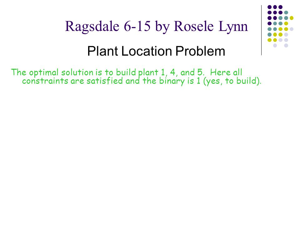 The optimal solution is to build plant 1, 4, and 5.