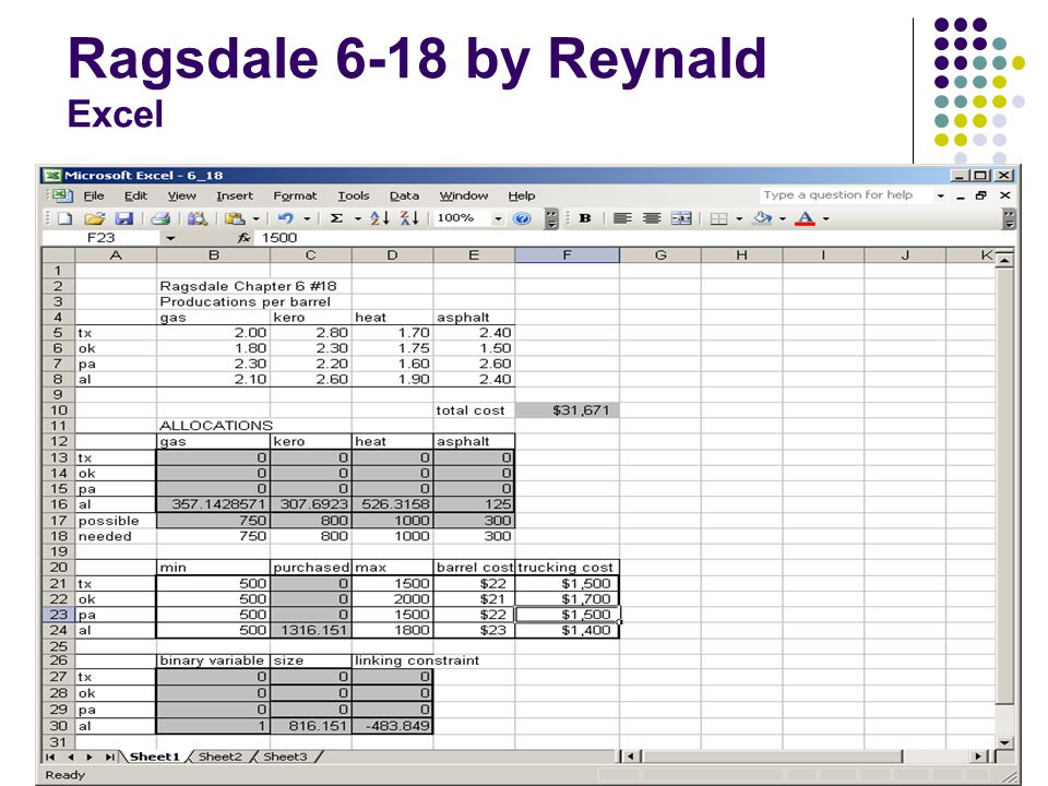 Ragsdale 6-18 by Reynald Excel