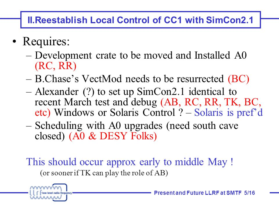 Present and Future LLRF at SMTF 5/16 II.Reestablish Local Control of CC1 with SimCon2.1 Requires: –Development crate to be moved and Installed A0 (RC, RR) –B.Chase's VectMod needs to be resurrected (BC) –Alexander ( ) to set up SimCon2.1 identical to recent March test and debug (AB, RC, RR, TK, BC, etc) Windows or Solaris Control .