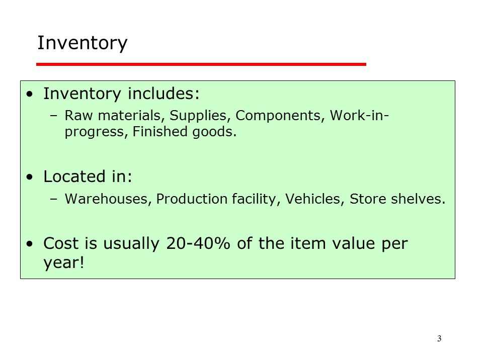 3 Inventory Inventory includes: –Raw materials, Supplies, Components, Work-in- progress, Finished goods. Located in: –Warehouses, Production facility,