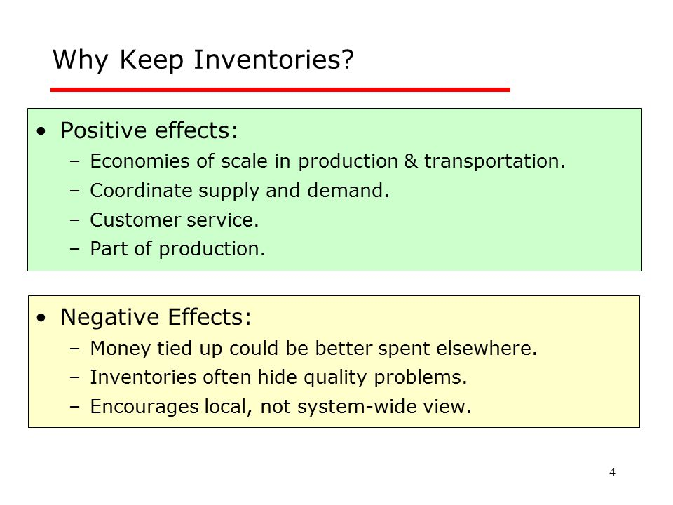 4 Why Keep Inventories? Positive effects: –Economies of scale in production & transportation. –Coordinate supply and demand. –Customer service. –Part