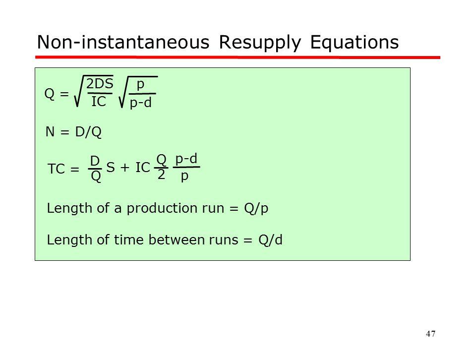 47 Non-instantaneous Resupply Equations TC = Q D S + IC 2 Q p-d p Q = IC 2DS p-d p N = D/Q Length of a production run = Q/p Length of time between run