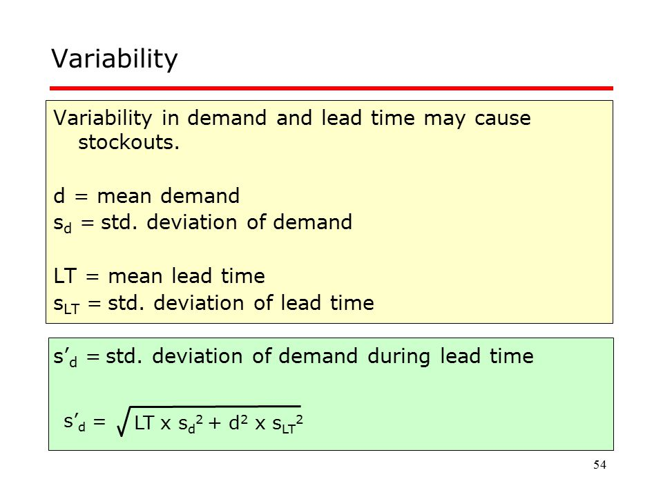 54 Variability Variability in demand and lead time may cause stockouts. d = mean demand s d = std. deviation of demand LT = mean lead time s LT = std.