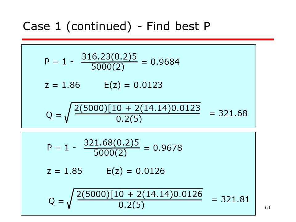 61 Case 1 (continued) - Find best P P = 1 - 5000(2) 316.23(0.2)5 Q = 0.2(5) 2(5000)[10 + 2(14.14)0.0123 = 0.9684 z = 1.86E(z) = 0.0123 = 321.68 P = 1