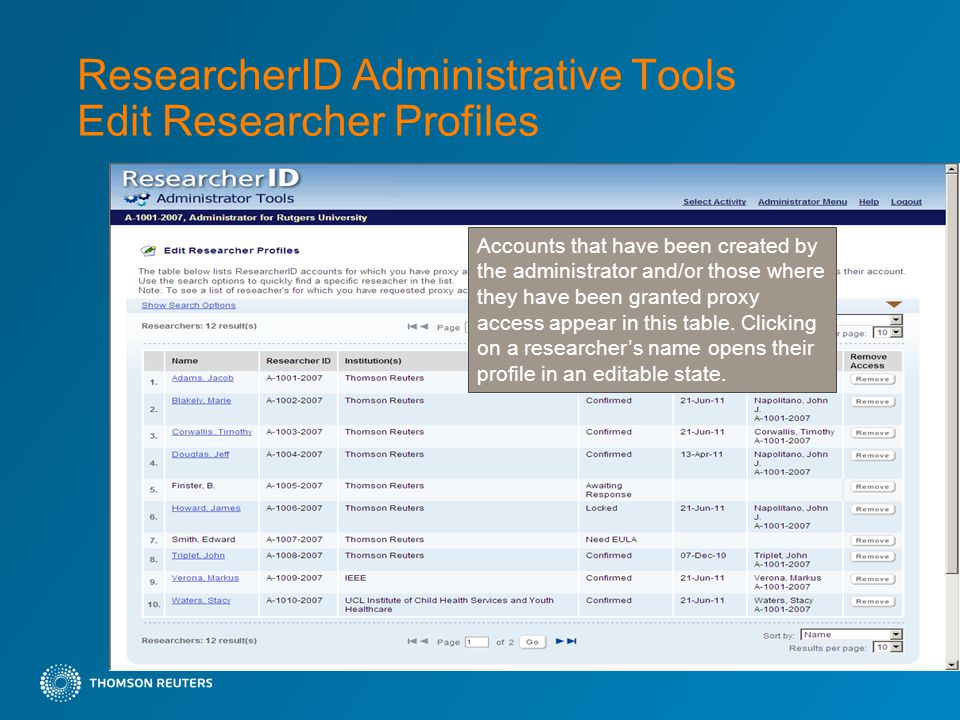ResearcherID Administrative Tools Edit Researcher Profiles Accounts that have been created by the administrator and/or those where they have been granted proxy access appear in this table.