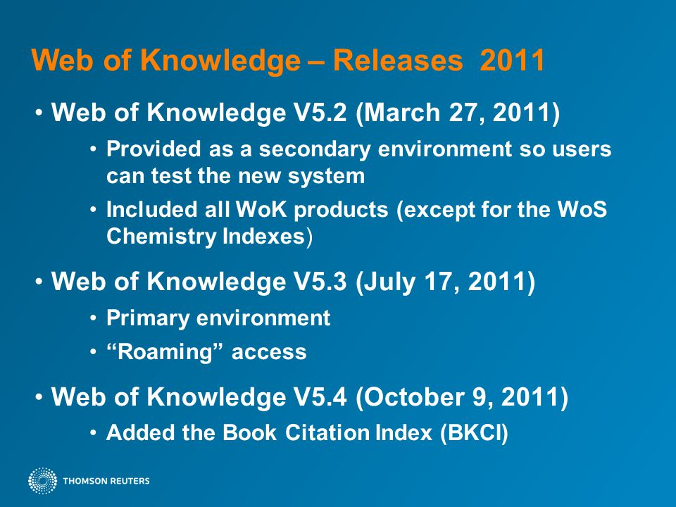 Book Citation Index (BKCI) Adding Book Citation Index to Web of Science shows how books and book chapters are integrated with journals as part of scholarly communication networks