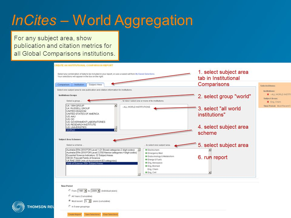 InCites – World Aggregation 40 For any subject area, show publication and citation metrics for all Global Comparisons institutions.