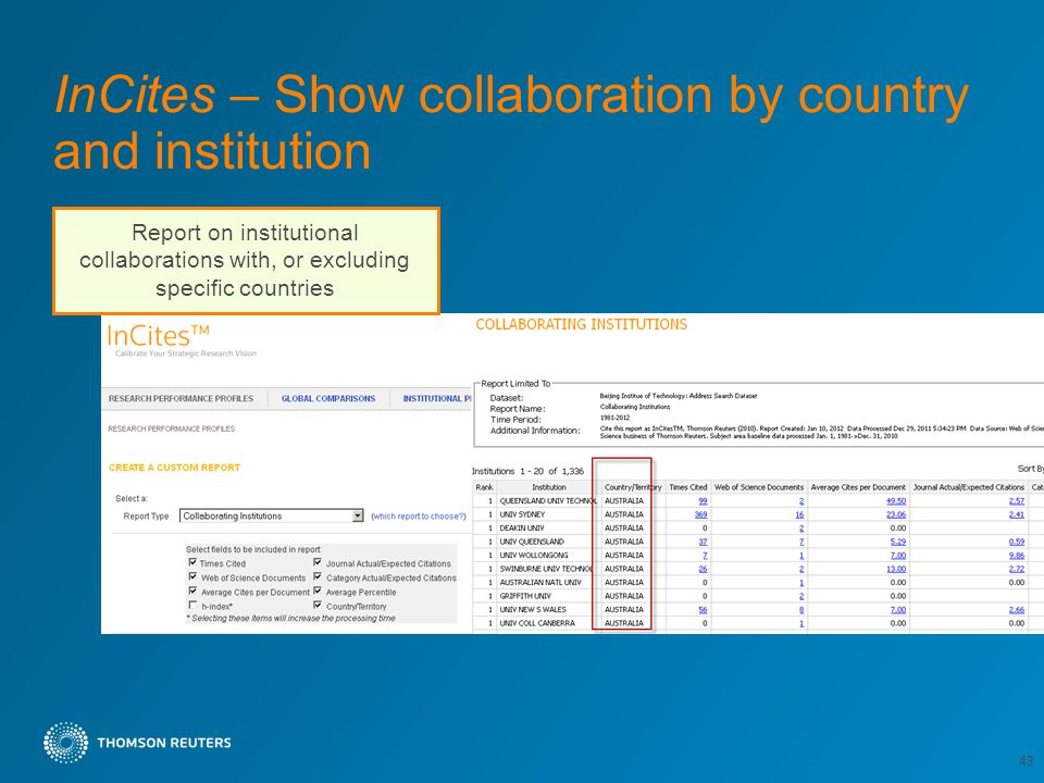InCites – Show collaboration by country and institution 43 Report on institutional collaborations with, or excluding specific countries