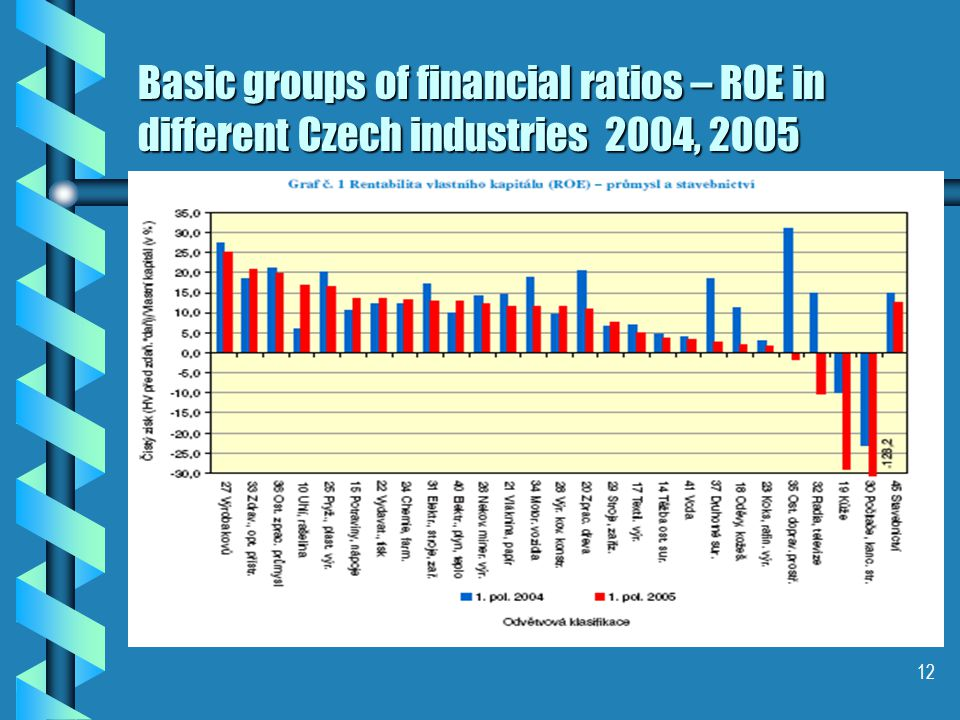 12 Basic groups of financial ratios – ROE in different Czech industries 2004, 2005