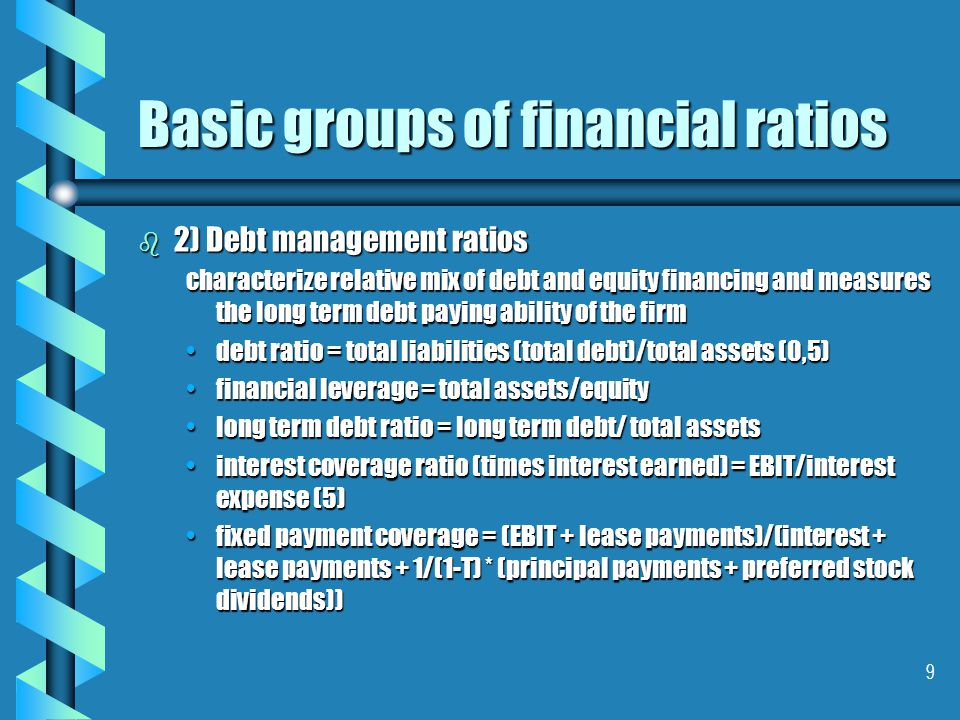 10 Basic groups of financial ratios b 3) Asset managemet ratios = asset utilization/efficiency turnover is measured in sales or costs accounts receivable turnover = net credit sales/avrg accounts receivable (60)accounts receivable turnover = net credit sales/avrg accounts receivable (60) receivable collection period = 365/accounts receivable turnover (60)receivable collection period = 365/accounts receivable turnover (60) inventory turnover = cost of goods sold/ avrg inventoryinventory turnover = cost of goods sold/ avrg inventory inventory collection period (avrg age of invetory) = 365/inventory turnover ratio (60)inventory collection period (avrg age of invetory) = 365/inventory turnover ratio (60) fixed assets turnover = sales/ (net) fixed assetsfixed assets turnover = sales/ (net) fixed assets avrg payment period = accounts payable/avrg purchases per dayavrg payment period = accounts payable/avrg purchases per day