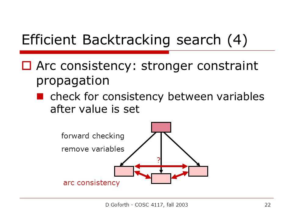 D Goforth - COSC 4117, fall 200322 Efficient Backtracking search (4)  Arc consistency: stronger constraint propagation check for consistency between variables after value is set forward checking remove variables arc consistency ?