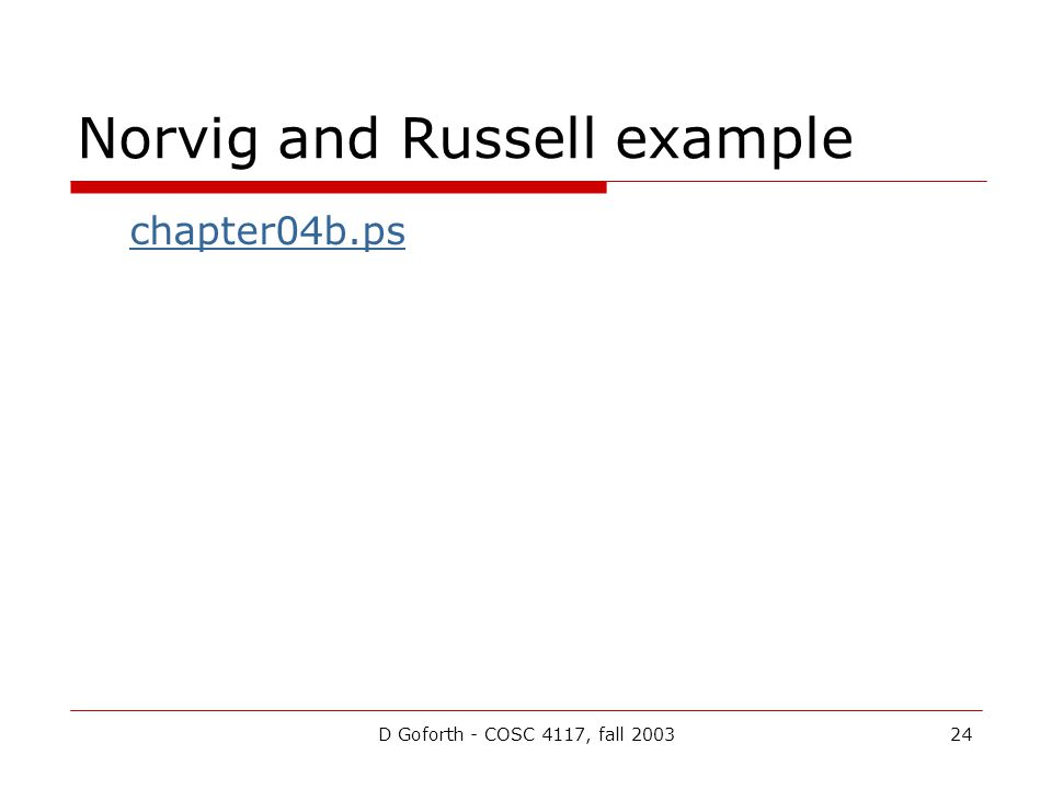 D Goforth - COSC 4117, fall 200324 Norvig and Russell example chapter04b.ps