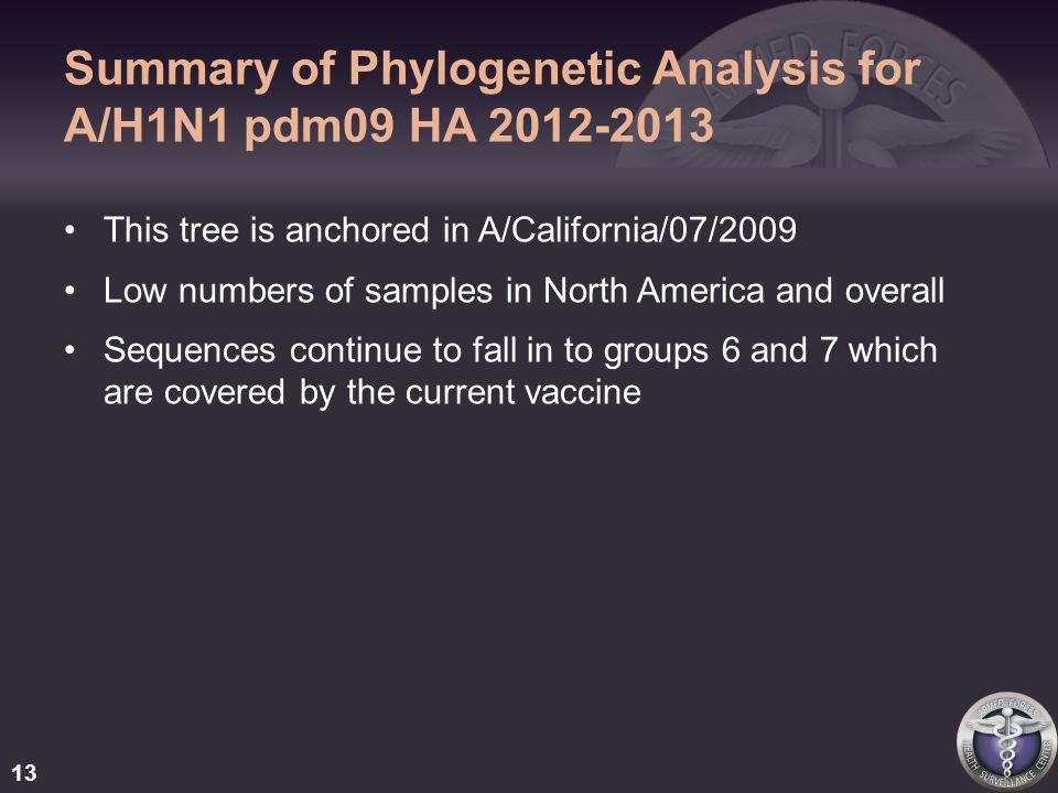 Summary of Phylogenetic Analysis for A/H1N1 pdm09 HA 2012-2013 This tree is anchored in A/California/07/2009 Low numbers of samples in North America and overall Sequences continue to fall in to groups 6 and 7 which are covered by the current vaccine 13