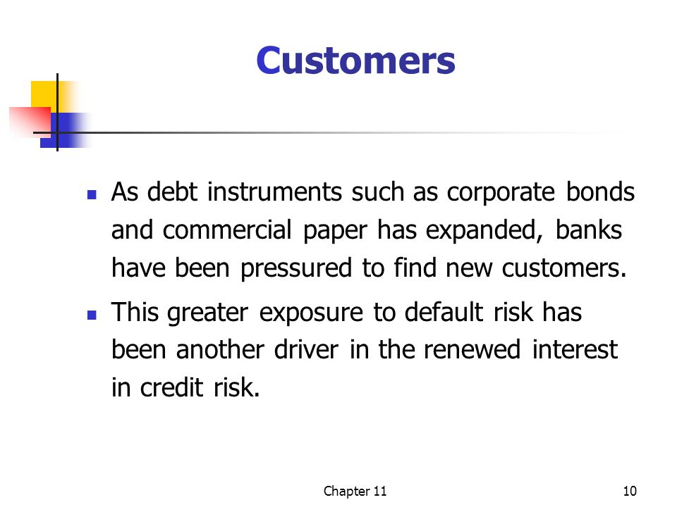 Chapter 1110 Customers As debt instruments such as corporate bonds and commercial paper has expanded, banks have been pressured to find new customers.