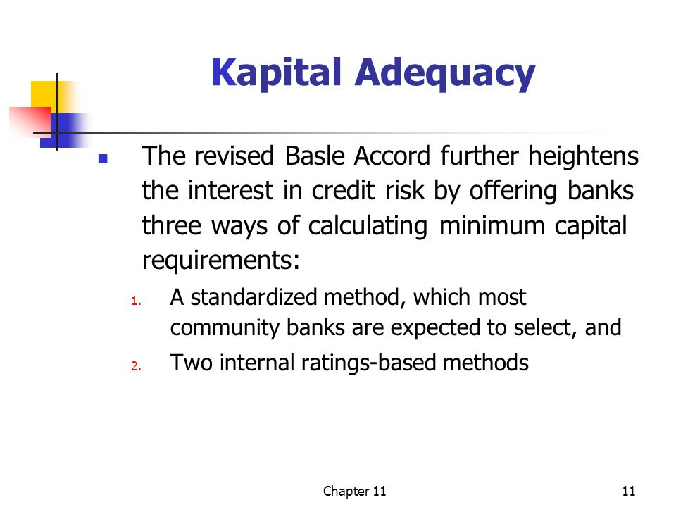 Chapter 1111 Kapital Adequacy The revised Basle Accord further heightens the interest in credit risk by offering banks three ways of calculating minimum capital requirements: 1.